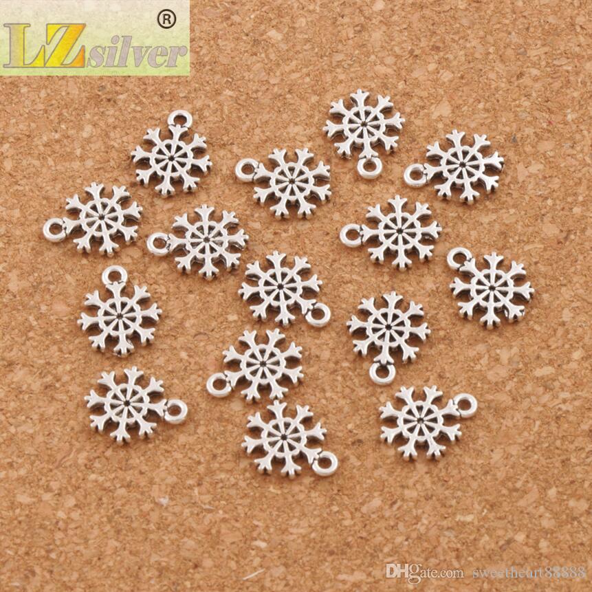 Kleine Schneeflocke Charms Anhänger Mode 400 teile / los Tibetischen Silber Schmuck DIY Fit Armbänder Halskette Ohrringe L734 11x13.2mm