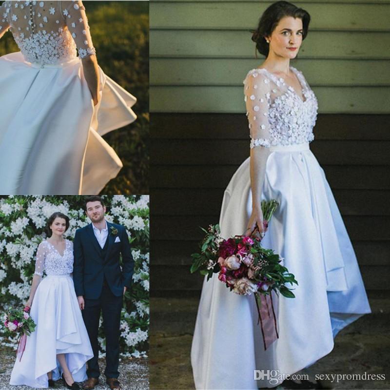 Discount Charming V Neck Sheer Sleeves Wedding Dresses Satin A Line ...