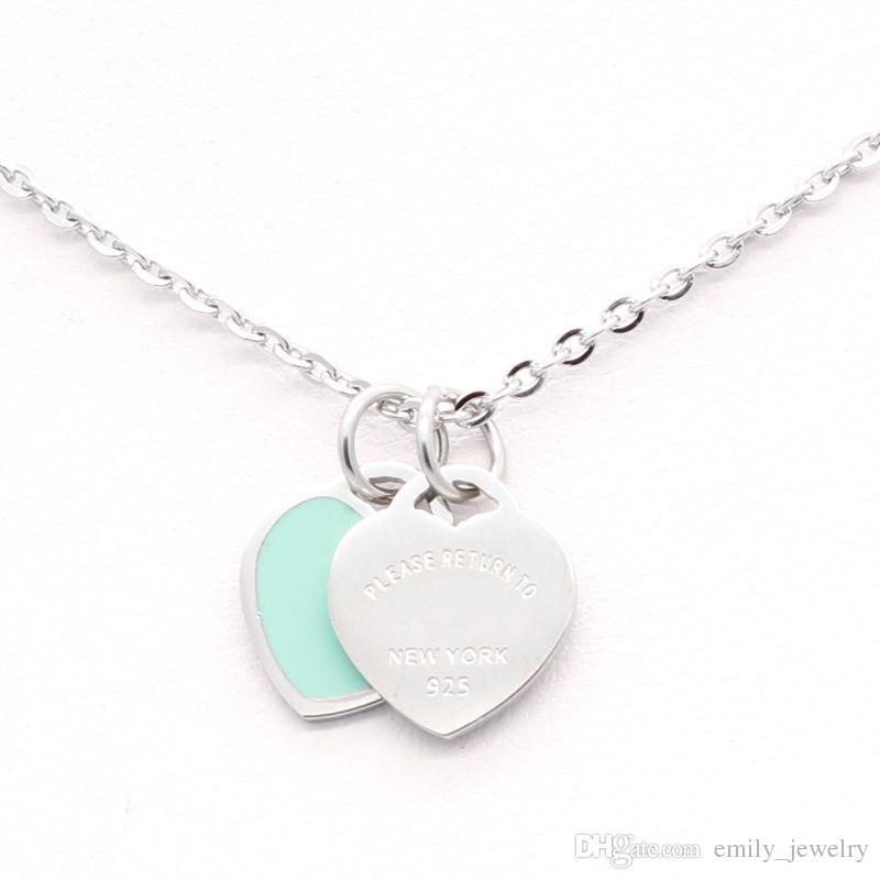 Горячего дизайн Новой бренд Любовь ожерелье сердца для женщин из нержавеющей стали Аксессуары Циркон зеленый розового сердца ожерелья для женщин дара ювелирных изделий