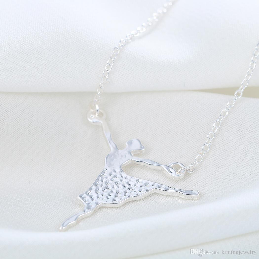 / mignonne unique ballerine fille danse chaîne collier pendentif déclaration bijoux cadeau pour femmes meilleurs amis pour toujours amour