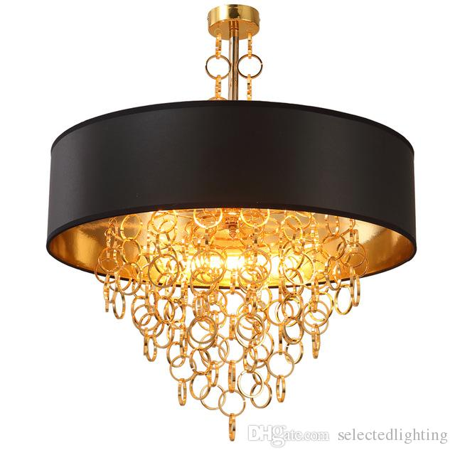 modern chandeliers with black drum shade pendant light gold rings