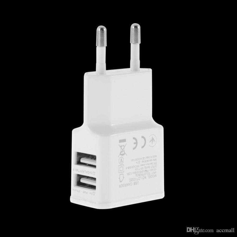 Adattatore caricabatteria da viaggio universale Dual USB EU Plug 5V 2A iPhone 5 6 6S Plus HTC Samsung Galaxy Tabs S6 S4 Android Smart Phones