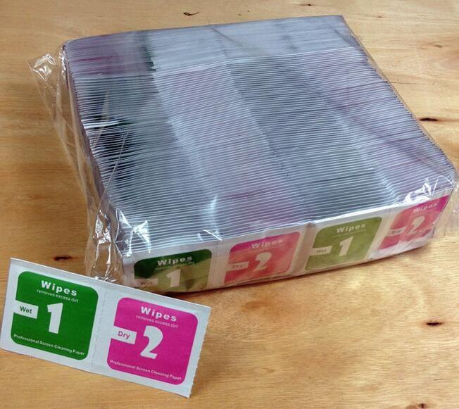 3000 juegos 3 en 1 toallitas húmedas secas + absorbente de polvo Paño de limpieza para el protector de pantalla de vidrio templado para el teléfono Moible Cámara Tablet PC