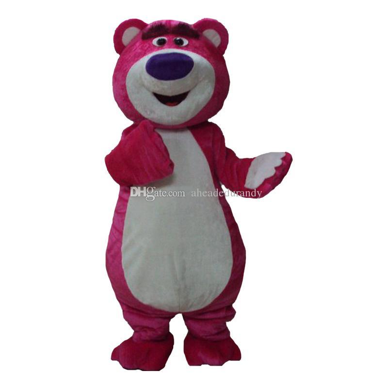 Pink Bear Mascot Cartoon Lotso Bear Disfraces Disfraces de Halloween Adultos Disfraces Disfraces Envío Gratis