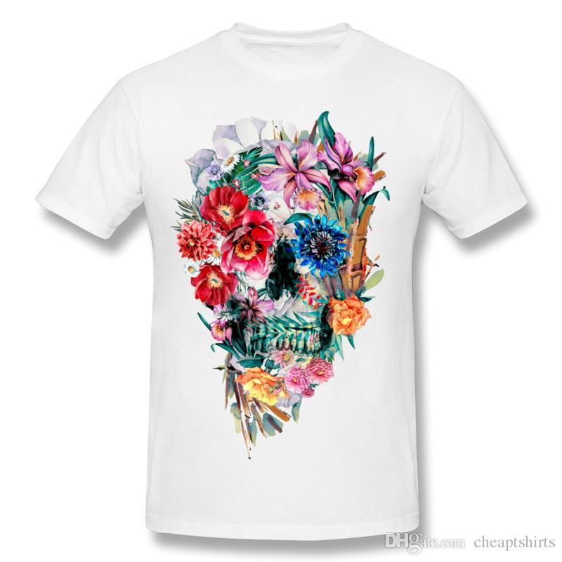 Maravillosa camiseta del cráneo de la flor para el hombre del diseño especial del arte de la camisa corta de los hombres camisetas de gran tamaño apoyan la orden grande Momento Mori VI