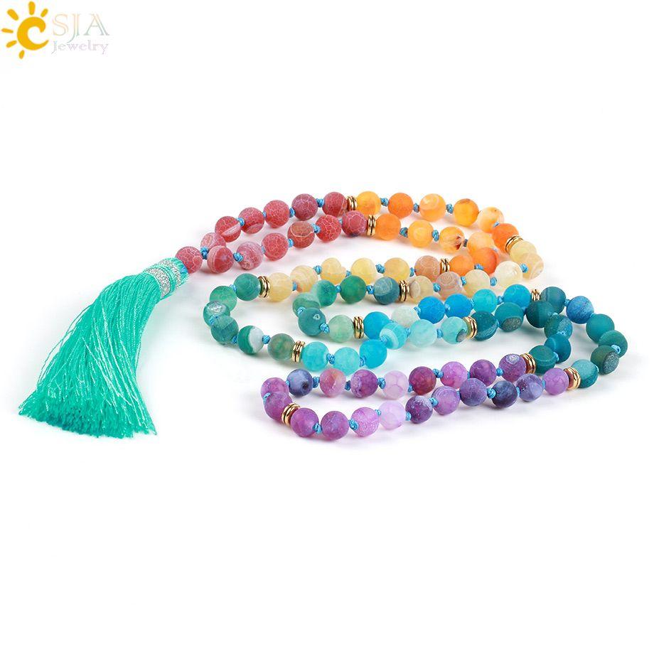 CSJA 7 Chakra Long Necklace 8mm Natural Gemstone Mala Beads Tassel Necklaces & Pendants Jewelry Fashion Jewellery Bijoux 2017 Gifts E493
