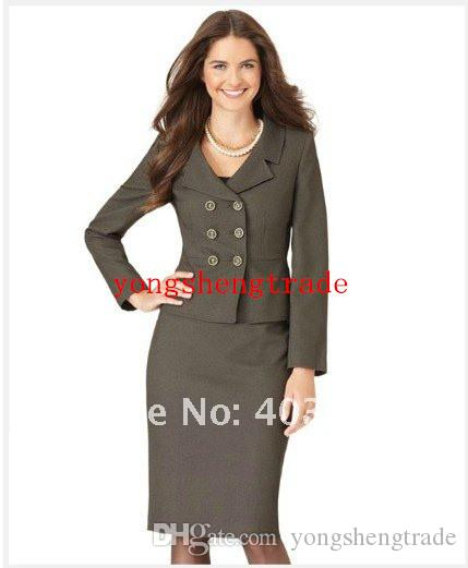 Womens Clothes Gray Women Suit Tailor Suit Long Sleeve Double Breasted Notched Portrait Collar Jacket & Pencil Skirt 703
