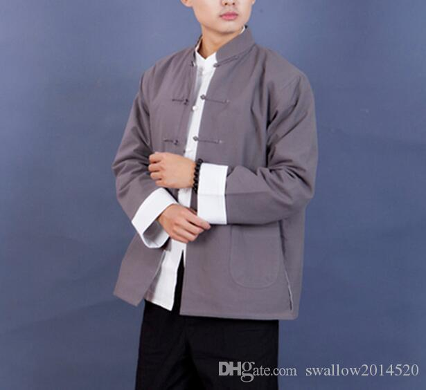 Men Frog Button Jacket Top Shirt Chinese Kung Fu Martial Arts Tai Chi Cotton New Style
