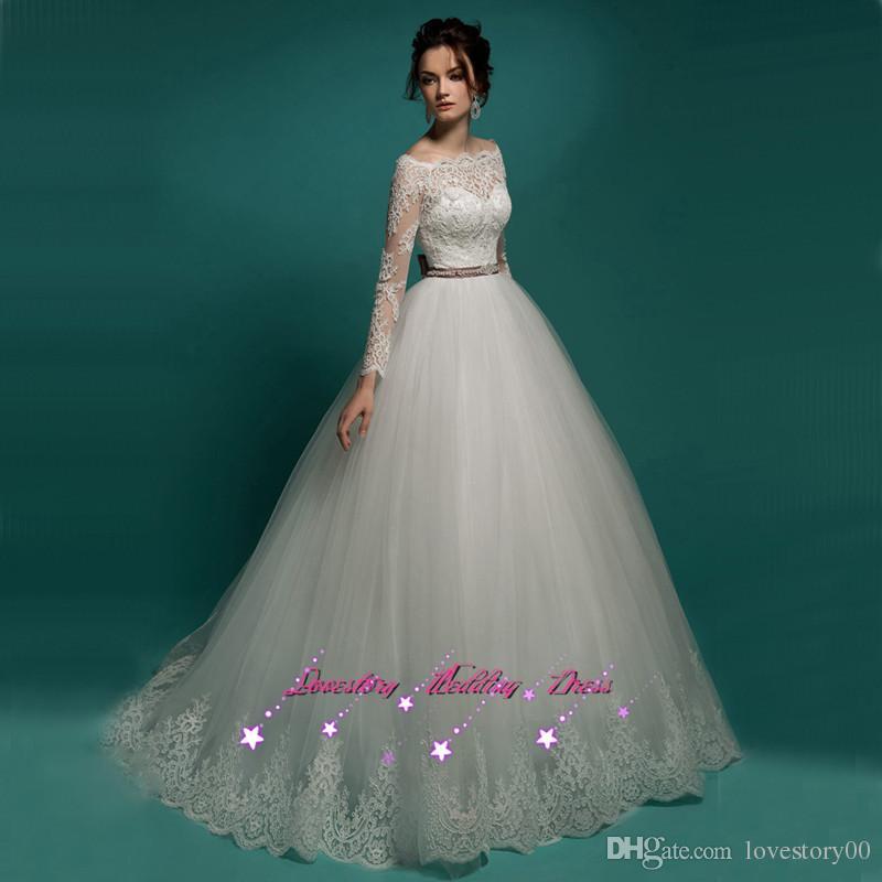 2017 Latest Design Vintage Lace Wedding Dress Long Sleeve Ball Gown Bridal Dresses Gowns Floor Length Vestido De Noiva Bow Yellow