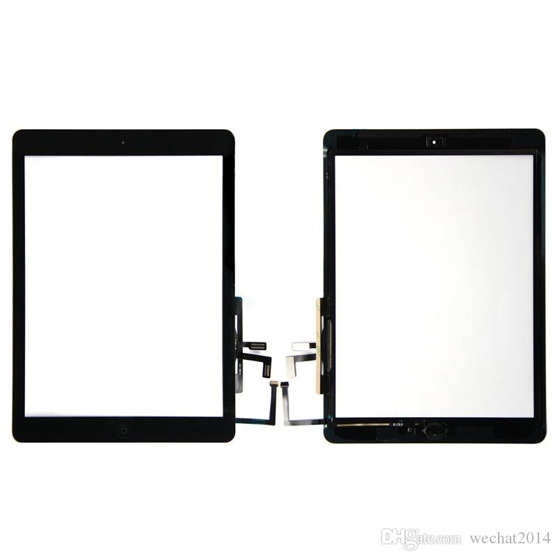 High quality Touch Screen Glass Panel Digitizer with Buttons Adhesive Assembly for iPad Air free DHL
