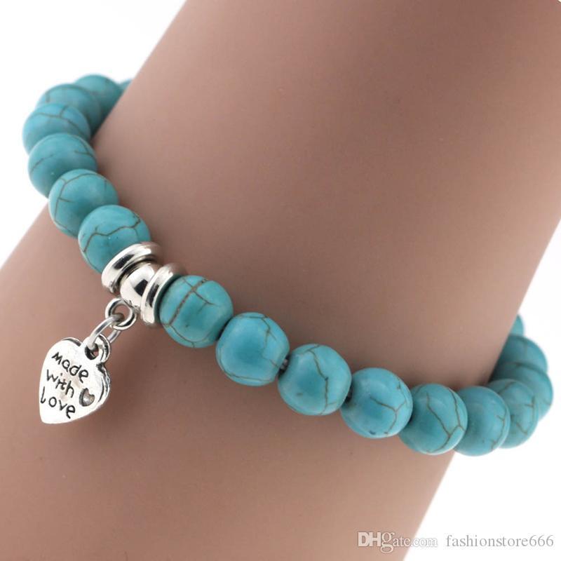 12 стили бохо Бирюзовый бисер браслеты зеленый натуральный камень корсет лист Звезда Луна якорь дерево ручной работы подвески браслет для женщин ювелирные изделия