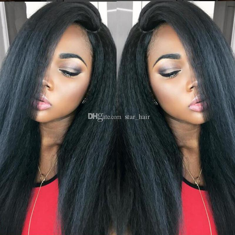 Yaki Straight Wigs Full Lace Human Hair Wigs For Black Women Brazilian Human Remy Hair Natural Hairline With Baby Hair