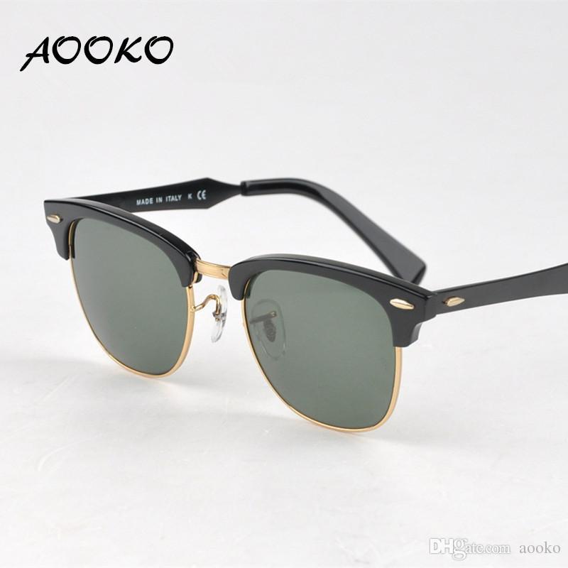 6b31de667d AOOKO Hot Retro Club Sunglasses Men Women Best Quality Designer Aluminum Frame  Glass Lens Master Mirror Sunglasses Lunettes Oculos De 51mm Circle  Sunglasses ...
