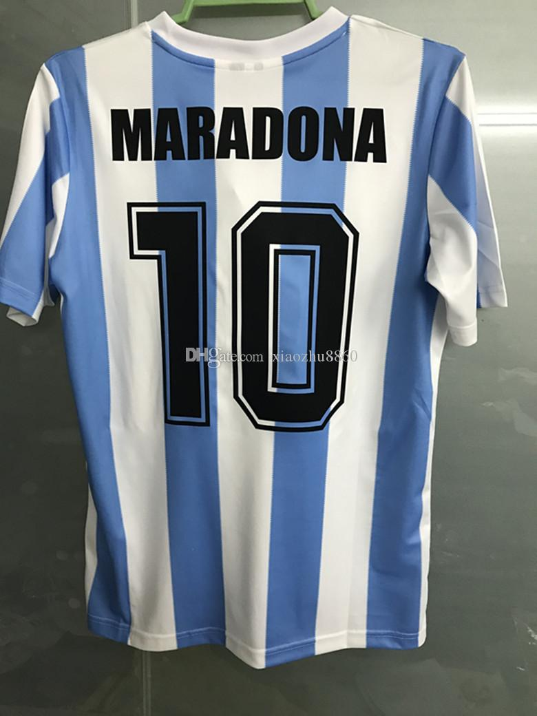 ee20e72cb Retro Version tops 1986 World Cup Argentina national team home Soccer  jerseys 10 Messi Maradona AAA+ Real Madird 04 05 Football Shirts