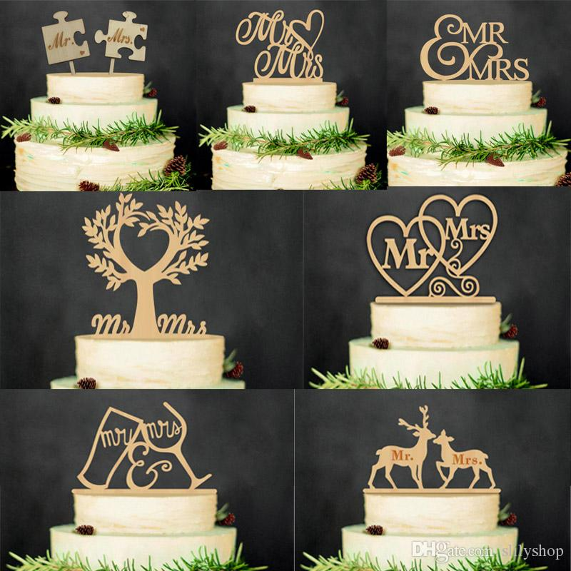 Mr And Mrs Rustic Wedding Cake Topper Laser Cut Wood Letters Decorations Favors Supplies Engagement Gifts Inserted
