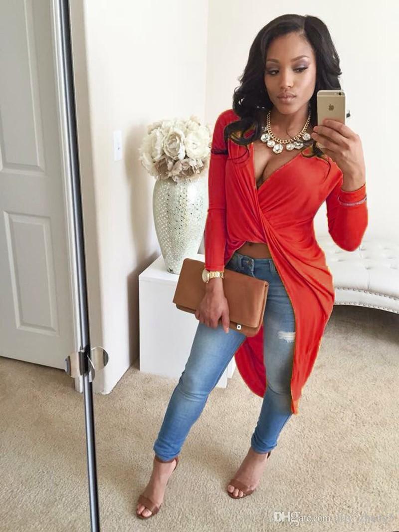 Оптовая продажа-Бесплатная доставка 6 цветов глубокий V шеи с длинным рукавом передняя скрещенные платья асимметричный Sexy Bodycon хлопок смесь футболка платье