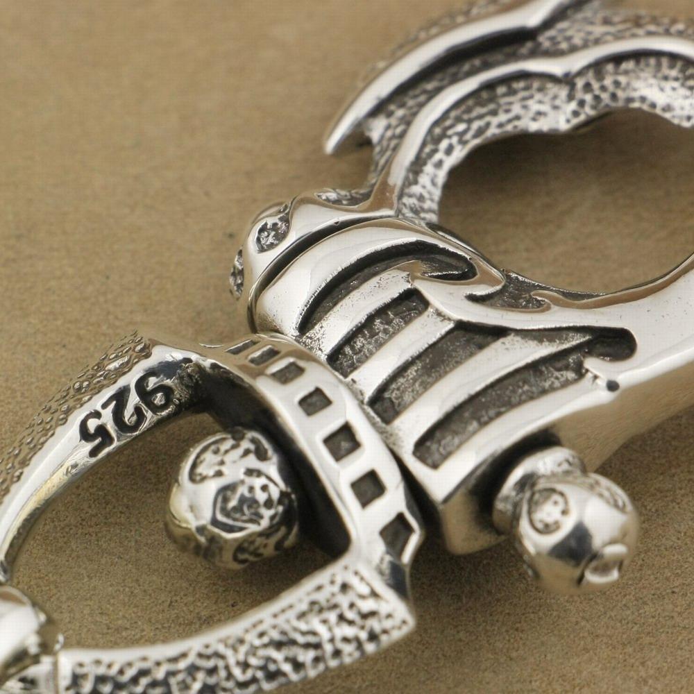 LINSION Schwerer 925 Sterling Silber Helm Rüstungsverschluss Herren Biker Drachen Schlüsselanhänger 8J025