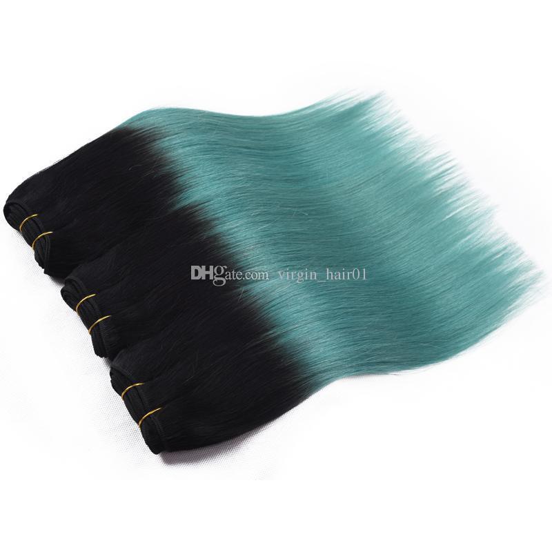 1b الأخضر أومبير الشعر 9a أومبير البرازيلي نسج الشعر البشري حزم 3 قطع الكثير تيل أومبير البرازيلي مستقيم الشعر حزم