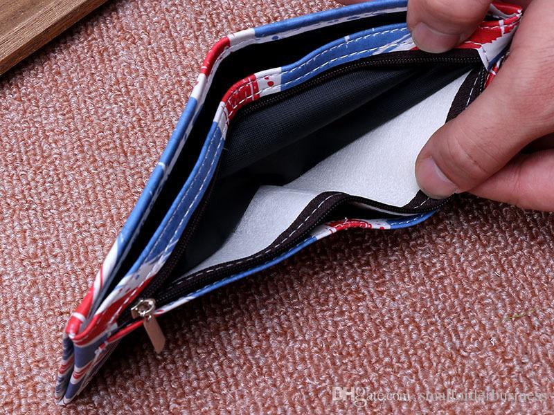 Cartera de la bandera de EE. UU. Bifold regalo promocional cuero PU simple diseñador billetera barata hombre al por mayor de la billetera de los hombres 10 unidades