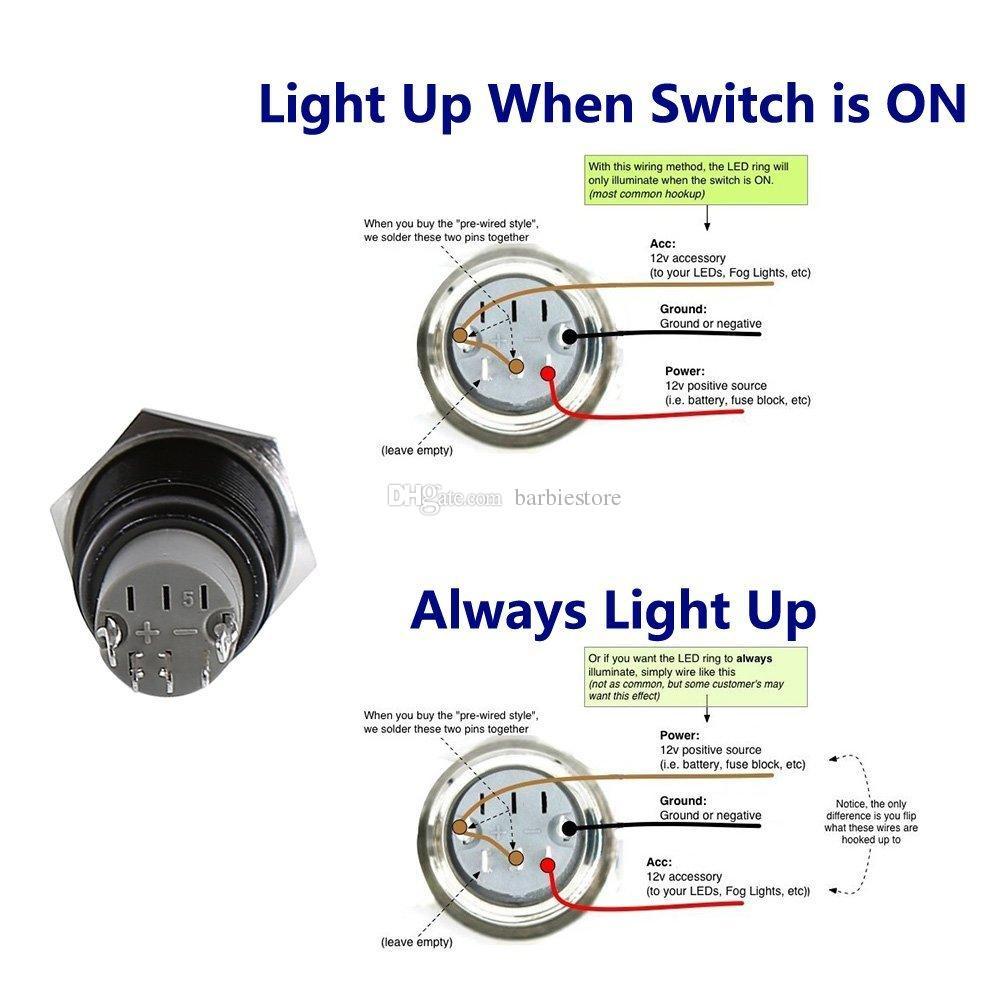 16mm 12V 자동차 금속 블루 알루미늄 LED 전원 푸시 버튼 ON / OFF 스위치 래치 B00460