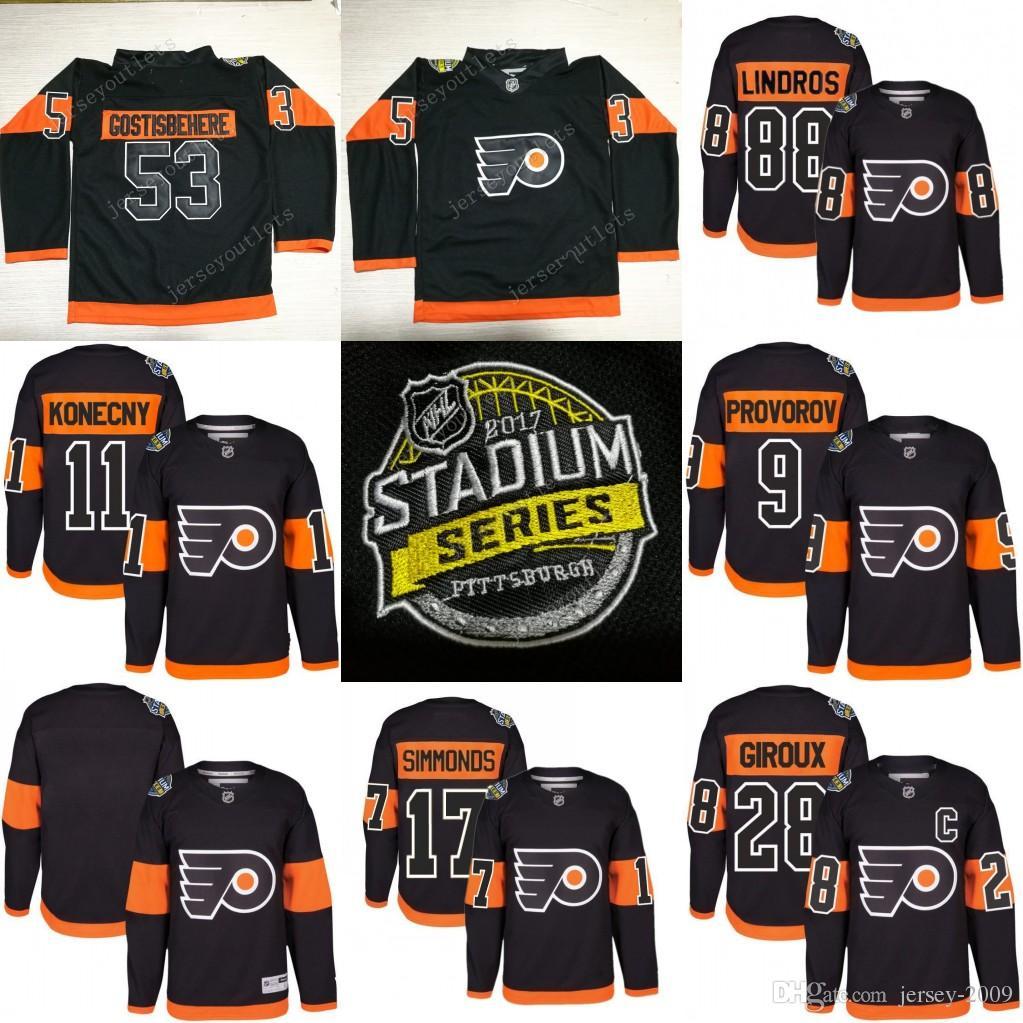 watch feae1 92c1a Men 2017 Stadium Series Philadelphia Flyers 11 Travis Konecny 28 Claude  Giroux 53 Shayne Gostisbehere 9 Ivan Provorov Jersey stitched