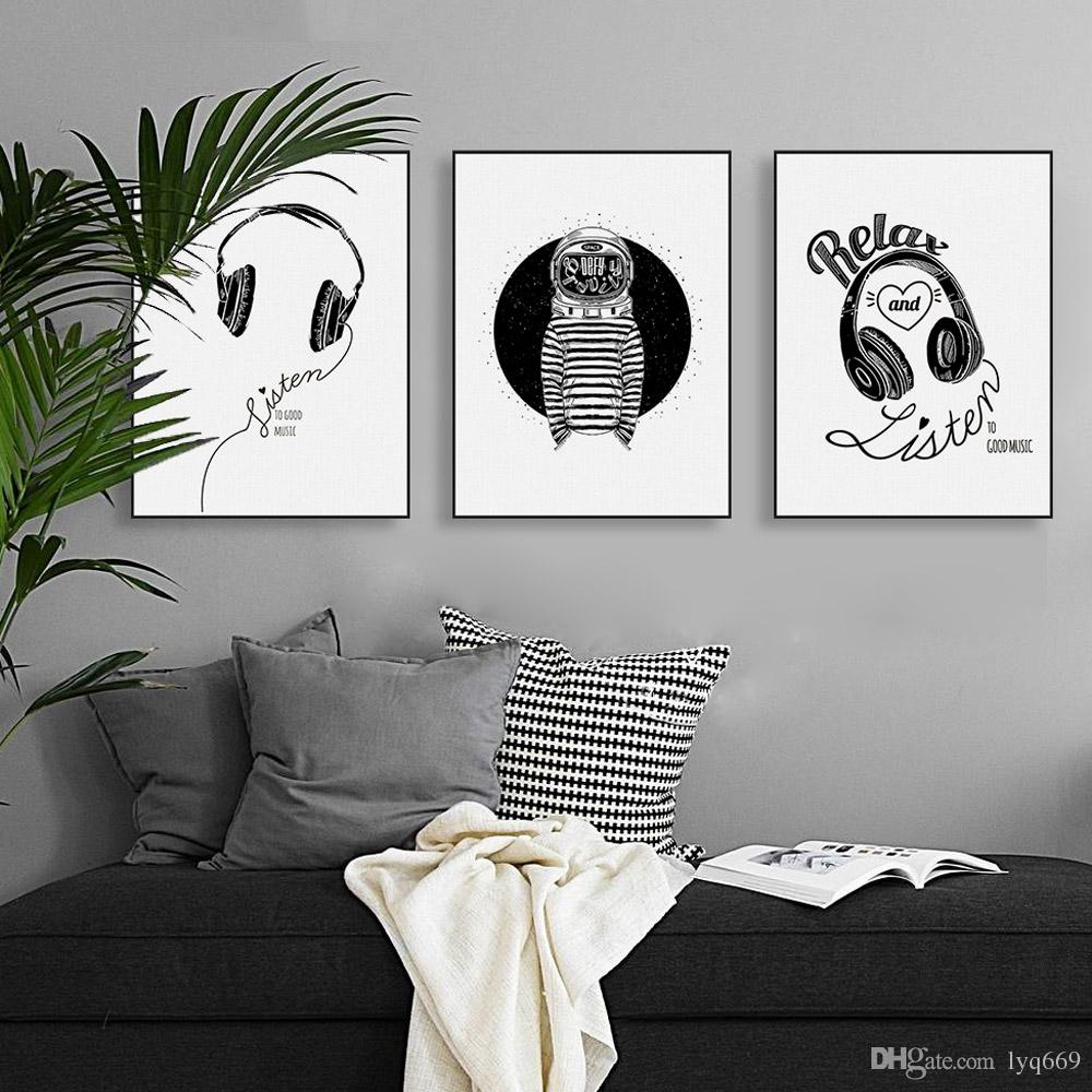 Abstract Black White Music Quotes Canvas A4 Art Print Poster Wall Picture Nordic Living Room Triptych Home Deco Paintin No Frame