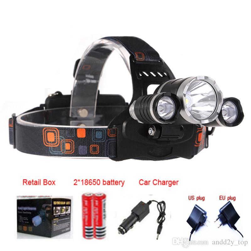 3T6 Headlamp 8000 Lumens 3 x Cree XM-L T6 Head Lamp High Power LED Headlamp Head Torch Lamp Flashlight Head +charger+car charger