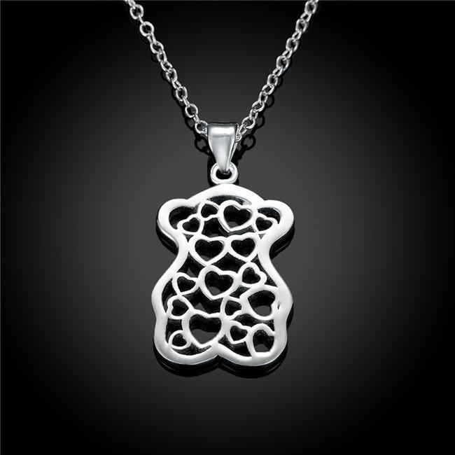 Venda quente Urso pêssego coração das mulheres placa de prata esterlina Colar, moda 925 colar de pingente de prata com correntes GN770