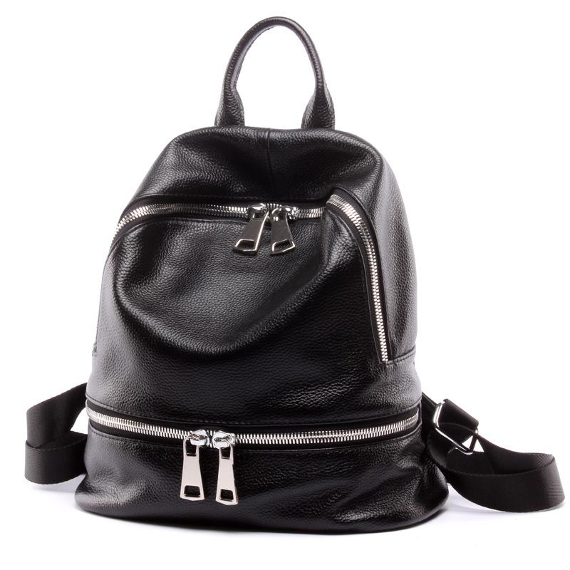 Wholesale Black Backpack Women Genuine Leather Backpack School ...