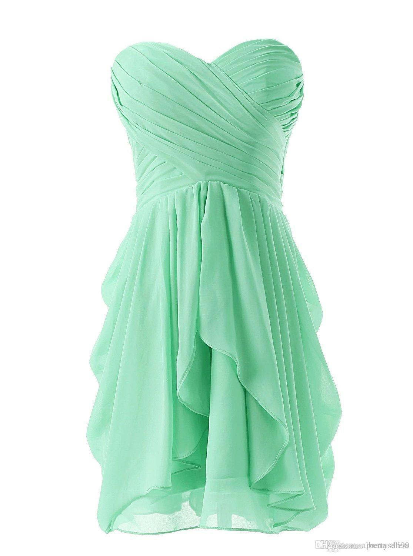 6fba17b1e2c Simple Short Sweetheart Bridesmaid Dresses Pleat A Line Ruffles Chiffon  Short Homecoming Dance Gown Junior Bridesmaid Dresses Cheap Dresses Bridal  Dresses ...