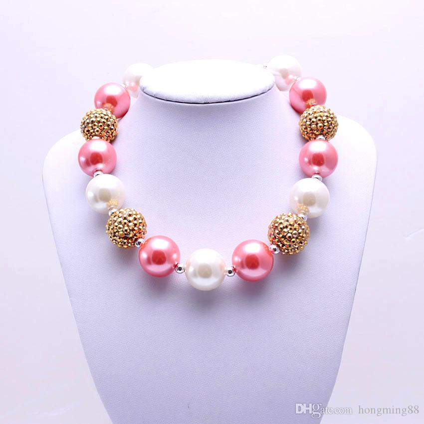MHS.SUN Pink+Gold Color Design Necklace Birthday Party Gift For Toddlers Girls Beaded Bubblegum Baby Kids Chunky Necklace Jewelry