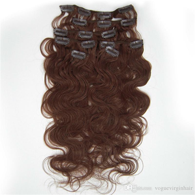 İnsan saç uzantıları brezilyalı vücut dalga klip # 24 saç işlenmemiş 7 adet / takım mevcut ücretsiz kargo