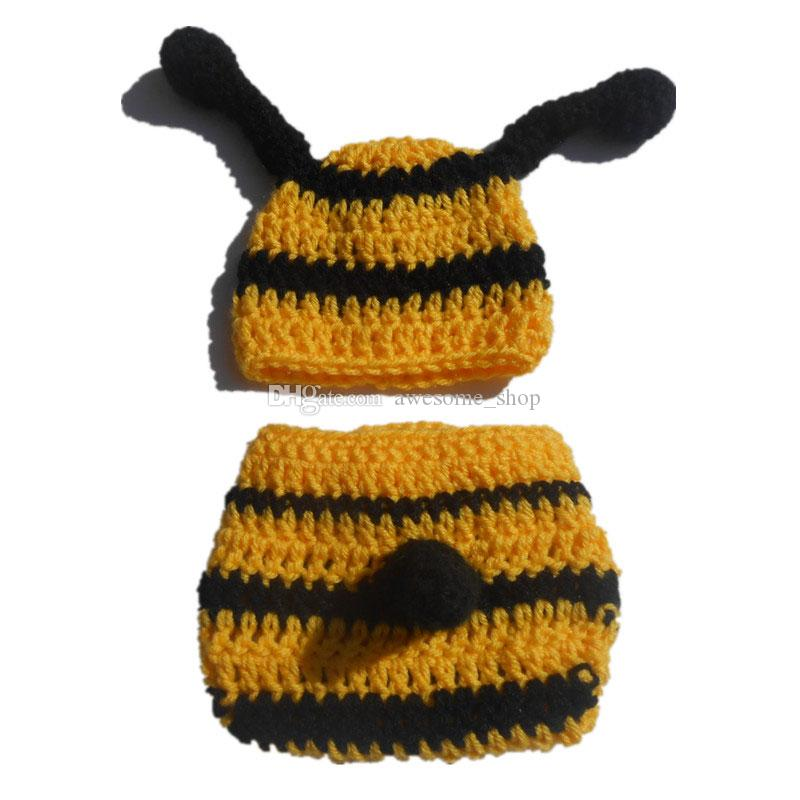 78762603c 2019 Adorable Cute Little Bee Newborn Outfits,Handmade Knit Crochet Baby  Boy Girl Bumble Hat And Diaper Cover Set,Infant Photography Props From  Awesome_shop ...