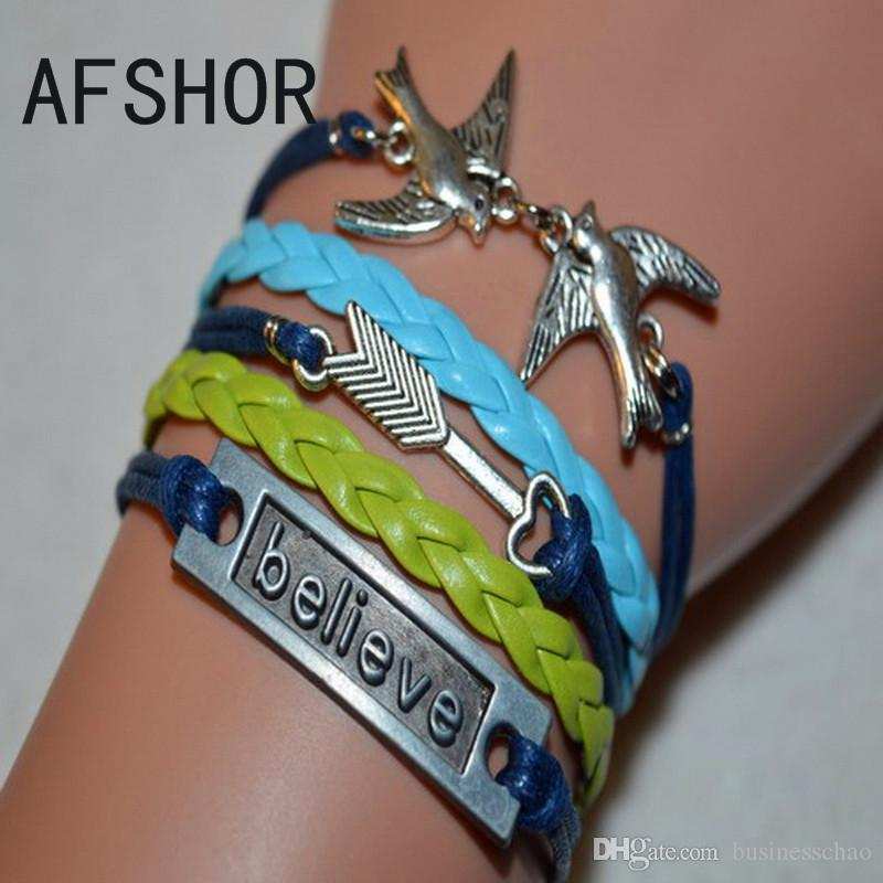 Woven Blue Grean Navy Leather Hemp Rope Cuff Friendship Charm Bracelet Bangles Unique Fashion Bird Arrow Believe Women Men Best Gift Jewelry