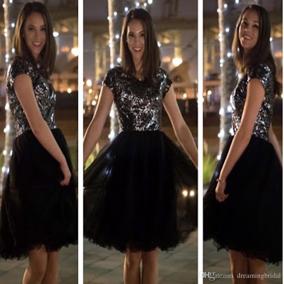 Cheap Black Short Homecoming Dresses Short Sleeve Sequins Prom Dresses Scoop Neck Dresses For junior vestido de vestir