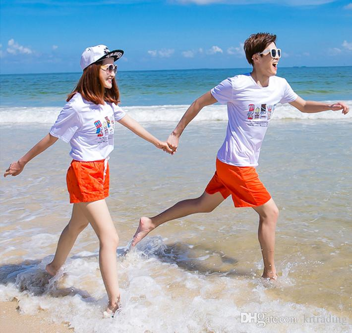 Familie Sommer Poker Druck Casual Outfits Set König Königin drucken weiß T-Shirt + Red Hose Familie passenden Blick Strand Kleidung