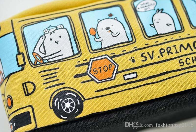 Children Pencil Case Cartoon Bus Car Stationery Bag Cute Animals Canvas Pencil Bags For Boys Girls School Supplies