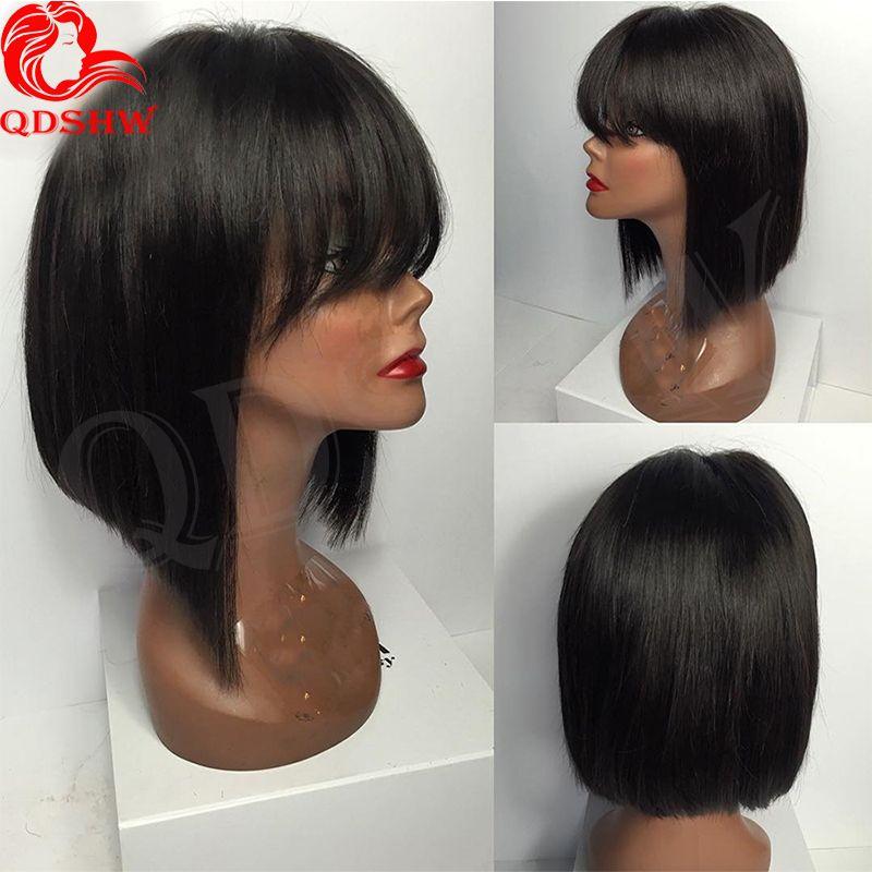 Lace Front Short Bob Human Hair Wigs With Bangs Glueless Straight Peruvian Virgin Hair Short Human Hair Wig Bob Style For Black Women