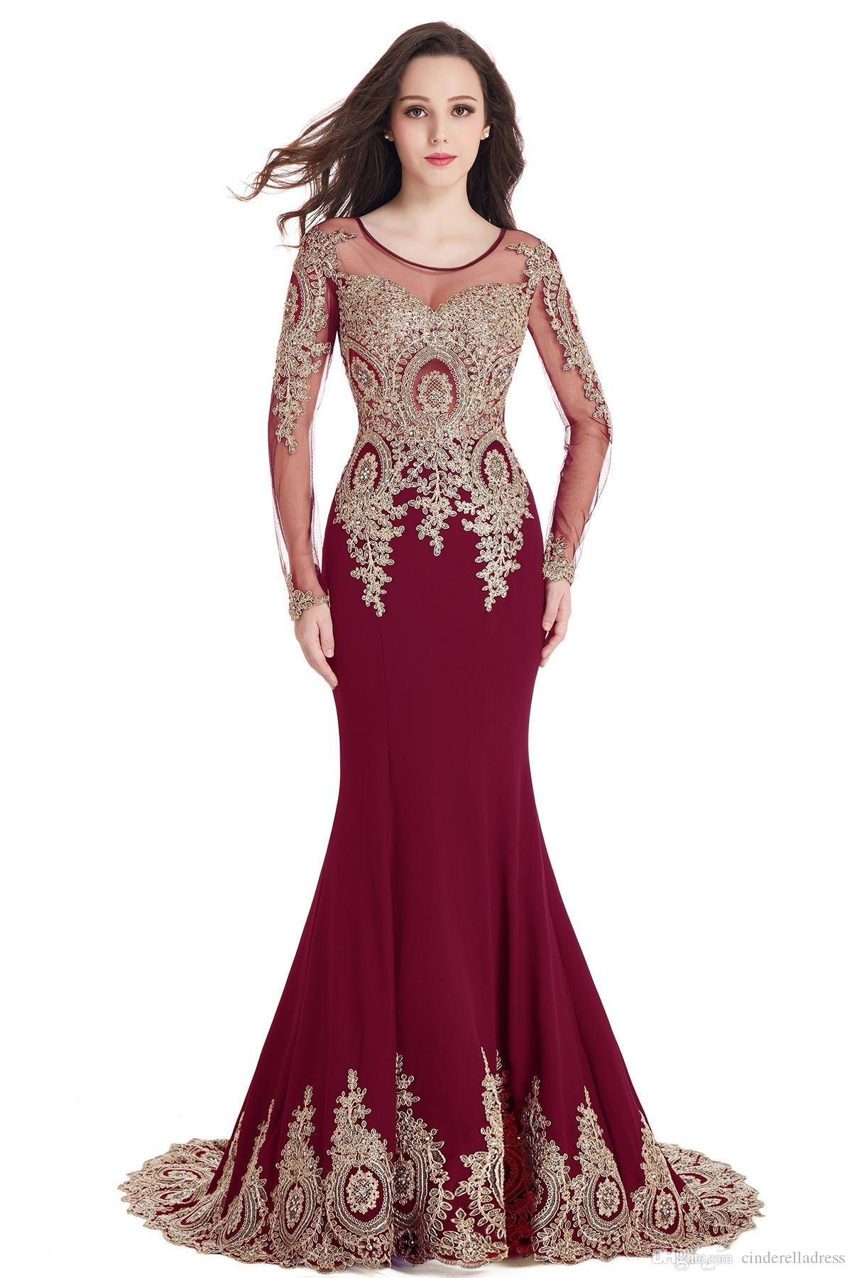 Burgundy Long Evening Dresses Lace Beads Cap Sleeve Party Prom gowns Scoop Sheer Neckline Mermaid Gold Lace Appliques Robe de Soiree CPS404