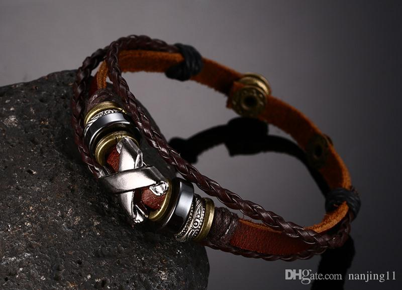Brown Genuine Leather Bracelet Men's Bangle Stainless Steel Fashion Retro Anchor Charm Jewelry For Women BL-082