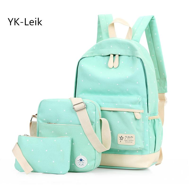 ef18a028fa33 Yk Leik Fashion Dots Women Backpack High Quality Canvas Backpacks For Teenage  Girls School Backpack School Bags Mochila Cool Backpacks Leather Bags From  ...