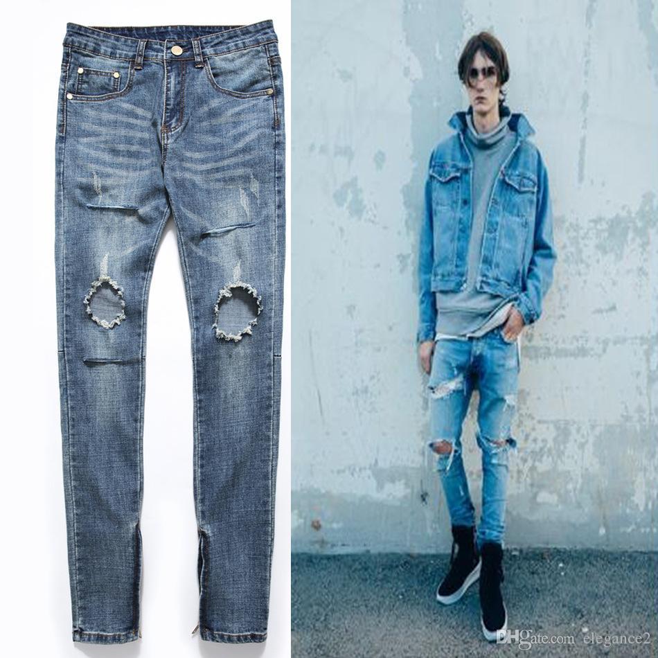 Grosshandel Manner Hi Street Jeans Zerrissene Jeans Zipper