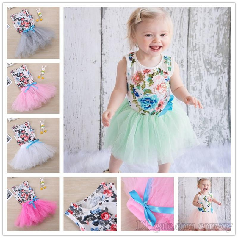 5f6dbe542 2019 Newest Baby Girls Floral Romper With Tutu Skirt Set Infant ...