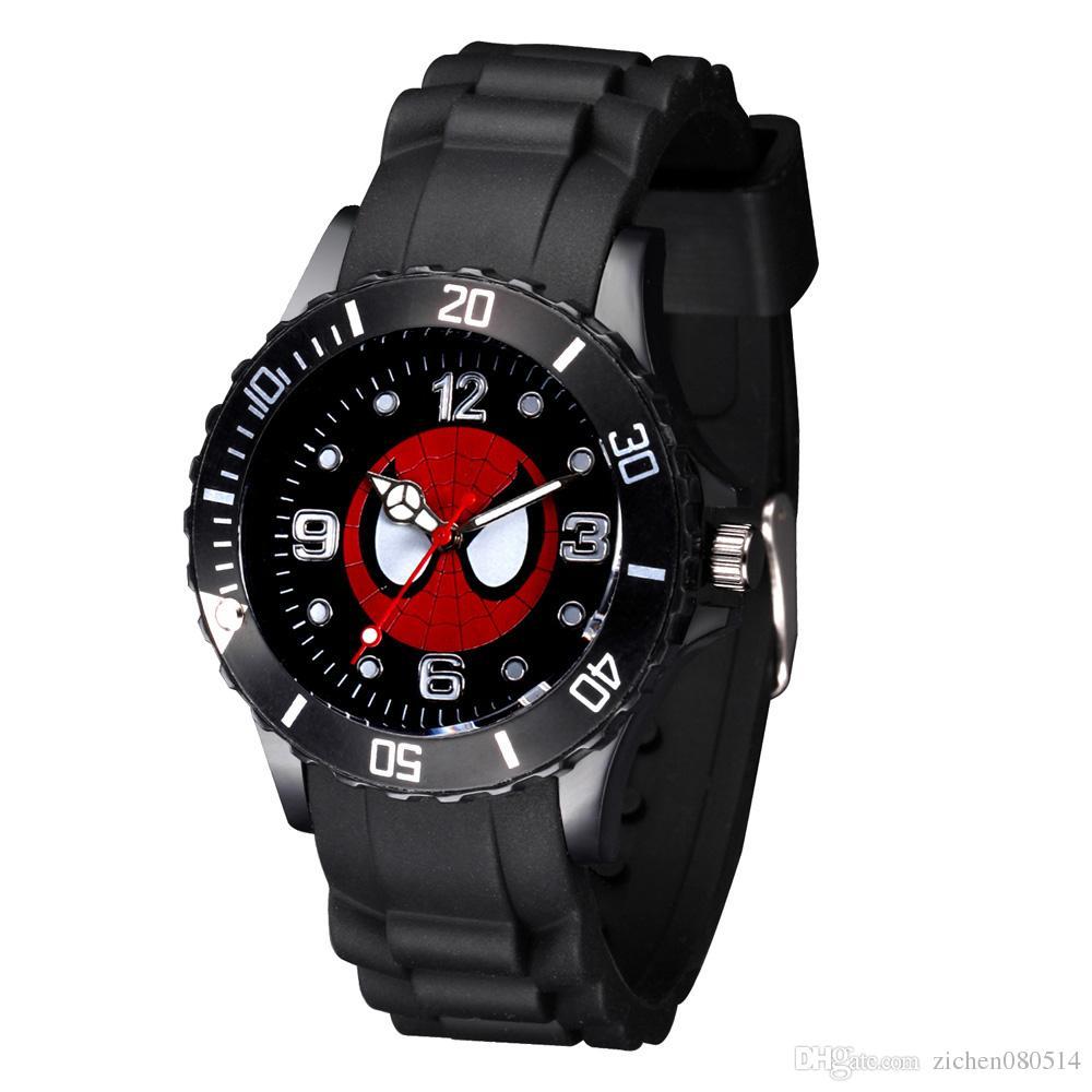Cartoon Boy girl children students Spiderman style Black Silicone strap quartz wrist watch 03