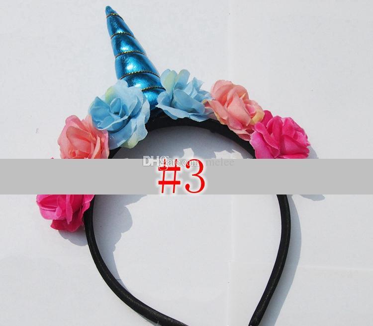 Halloween bébé licorne cheveux bâtons serre-tête infantile fête d'anniversaire enfants bâtons de cheveux bébé filles floral bandeau or paillette ruban de cheveux