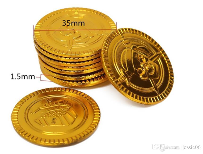 Plastic gold Pirate coins birthday Christmas holiday favor treasure coin goody party loot bag pinata filler toy favor theme decor gift