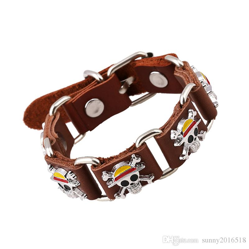 Vintage Pirate Skull Charm Bracelet Men's Casual Genuine Leather Bracelet With Metal Buckle Cool Punk Jewelry In Stock