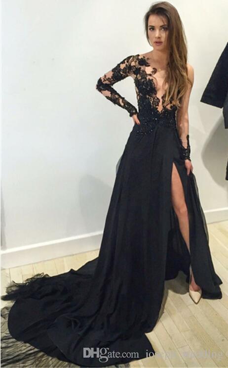 Черные длинные рукава линия вечернее платье халат де суаре 2017 платья выпускного вечера аппликации бисером сексуальная сторона Сплит платья для партии