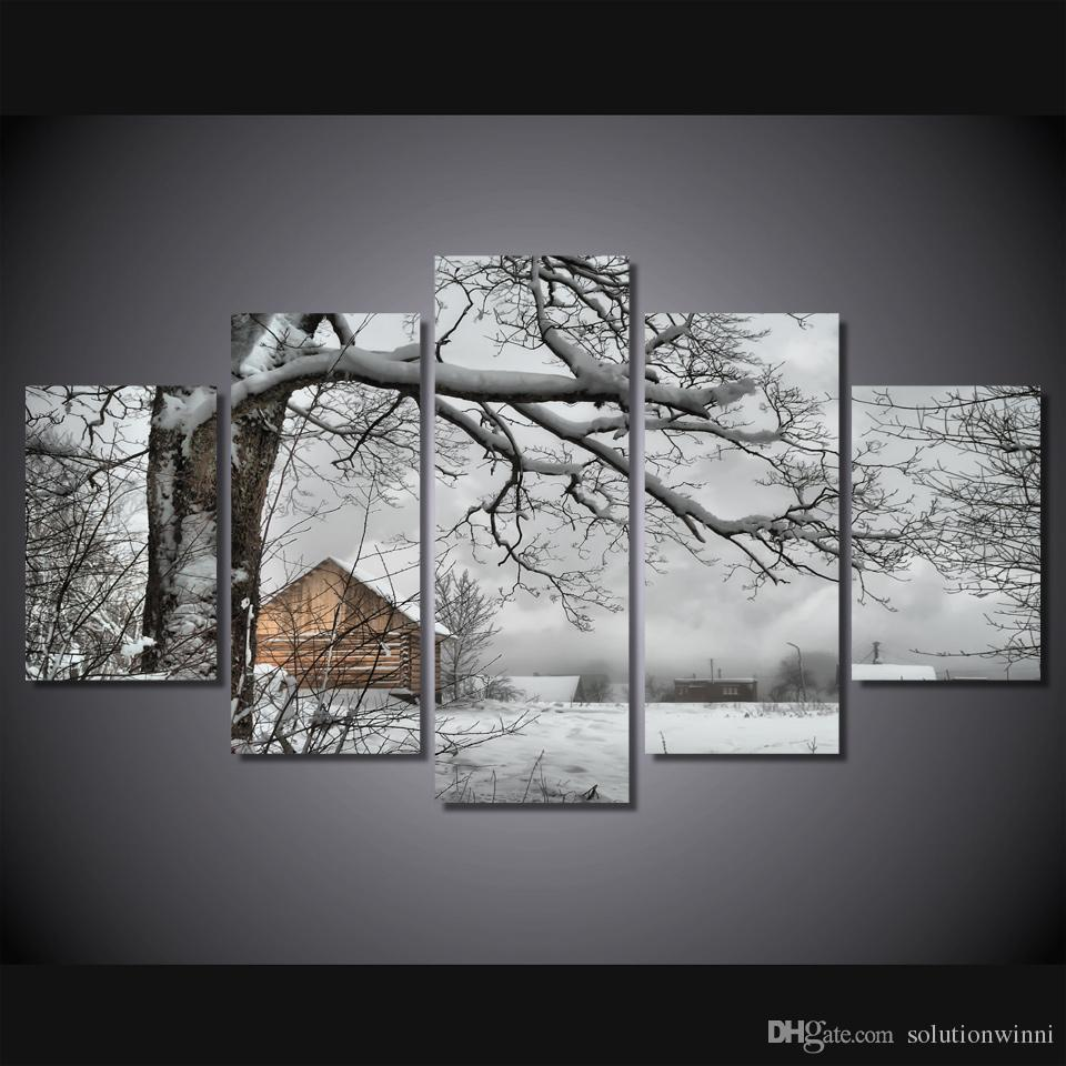 5 Pcs/Set Framed HD Printed Snow Tree House Landscape Picture Home Decor Canvas Poster Cheap Abstract Oil Painting