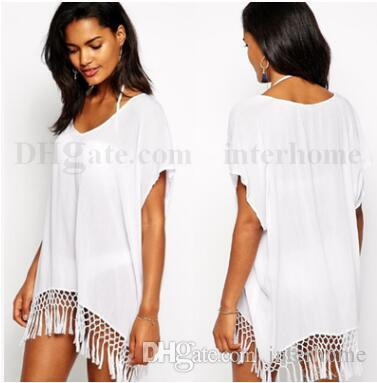 f548dc2157b Tassel Beach Smock Sexy Beach Dress Bohemia Bikini Cover Ups Fashion Bikini  Blouse Loose Swimwear Sun Vacation Beachwear Swimdress B1714 White Dress  Skirt ...